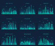 Arabian peninsula skylines line art style vector Stock Photos