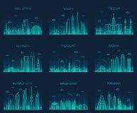Arabian peninsula skylines line art style vector Stock Photos