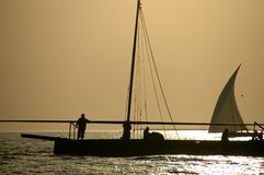 Arabian sailors on a dhow Royalty Free Stock Images