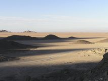 Arabian Sand Dunes3, Egypt, Africa. Sand dunes and luminous mountains of Sahara Stock Images