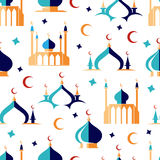 Arabian seamless pattern with moon and mosque Royalty Free Stock Photography