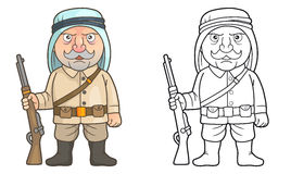 Arabian soldier stands guard with a rifle in his hand. Cartoon Arabian soldier stands guard with a rifle in his hand Royalty Free Stock Images
