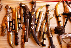 Arabian souvenirs. Lots of cold steel close-up Royalty Free Stock Image