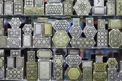 Arabian souvenirs metal boxes Stock Photography