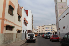 Arabian street with the parking cars on the road, Agadir, Morocco. Royalty Free Stock Photo