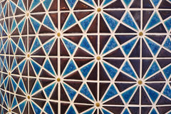 Arabian Style Brown and Blue Colored Geometric Pattern Mosaic Tiled Curve Wall Royalty Free Stock Photos