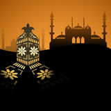 Arabian style lantern and mosque silhouette background Royalty Free Stock Photos