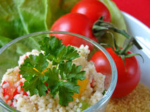 Arabian tabouleh dish with couscous Royalty Free Stock Photos