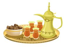 Arabian Tea Set With Dates 2. Golden Arabian decorated tray with teapot, tea glasses, and a bowl of dates Royalty Free Illustration