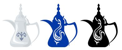Arabian Teapots & Silhouettes 1. Front view of Arabian silver teapot and its dark blue and black decorated silhouettes Royalty Free Illustration