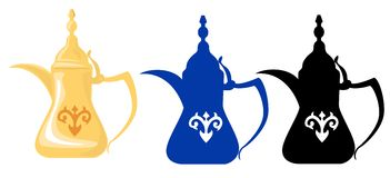 Arabian Teapots & Silhouettes 2. Front view of Arabian golden teapot and its dark blue and black silhouettes Stock Illustration