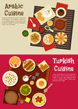 Arabian and turkish cuisine dishes Stock Photos