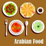 Arabian vegetarian lunch menu flat icon Royalty Free Stock Images
