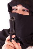 Arabian Wearing Niqab With Gun Stock Images