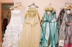 The Arabian wedding Dresses. In salon for brides Royalty Free Stock Photography