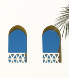 Arabian windows. Two Arabian windows. Blue and white stock image