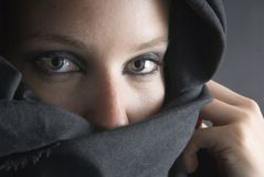 Arabian woman with black veil Royalty Free Stock Photo