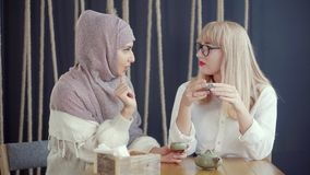 Two muslim and caucasian women are chatting sitting in cafe and drinking tea stock video footage