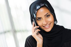 Arabian woman cell phone. Beautiful young arabian woman talking on cell phone Stock Photography