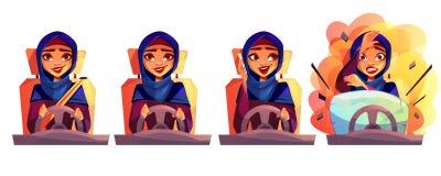 Arabian woman driving car vector illustration. Arab woman driving car vector illustration of modern rich girl in Saudi Arabia hijab with not fastened seatbelt royalty free illustration
