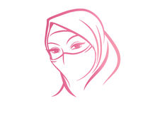 Arabian Woman in Hijab sketch vector art.