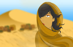 Arabian woman in sahara Stock Image