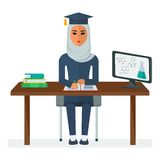 Arabian woman student. Modern young Arab girl student. Learning modern computer technology, chemistry. Arabic people. Cartoon flat vector illustration. Objects Royalty Free Stock Photo