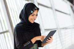 Arabian woman tablet computer Stock Photography
