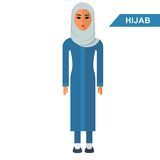 Arabian woman wear hijab. Traditional Islamic Muslim clothing. Flat vector cartoon illustration. Flat vector cartoon illustration. Objects isolated on a white Royalty Free Stock Images