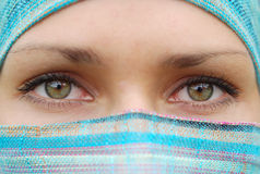 Arabian women. Green eyes of arabian pretty girl stock photography