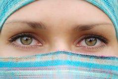 Arabian  women. Green eyes of arabian pretty girl Stock Photography