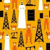 arabian wzór Arabska i nafciana pompa Benzyna wielbłąd i baryłka OAE royalty ilustracja