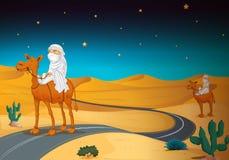 Arabians riding on a camel. Illustration of arabians riding on a camel in a desert Stock Photography
