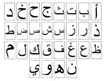 Arabic Alphabet Horizontal. The Arabic alphabet. To be read from right to left stock photos