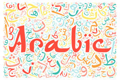 Arabic alphabet texture background. With the word `arabic Stock Image