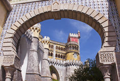 Arabic arch of Pena Palace. Arabic arch of the entrance of Pena palace in Sintra, Portugal Stock Images