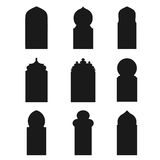 Arabic arch windows and doors ,  silhouettes Royalty Free Stock Photo