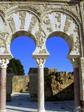 Arabic arches. Of Medina Azahara Royalty Free Stock Image