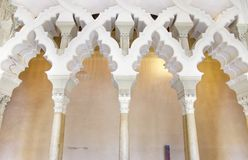 Arabic arches at Aljaferia Palace. Stock Image