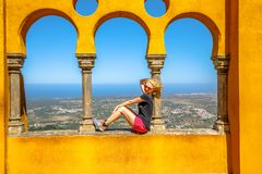 Arabic arches Pena Palace royalty free stock photography
