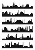 Arabic architecture silhouette of mosque roof. Vector city isolate on white background. Black silhouette islamic mosque illustration vector illustration