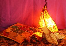 Arabic atmosphere. A corner in moroccan style Stock Photos