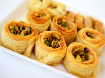Arabic baklava. Arabic sweet baklava with pistachio nuts. The traditional Middle Eastern dessert Stock Photography