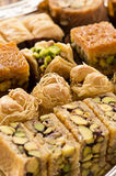 Arabic Baklava. As closeup on a silber bowl Stock Photos