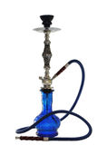 Arabic blue glass hookah isolated on white Royalty Free Stock Image
