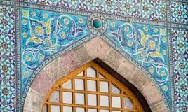 Arabic mosaic window decoration. Arabic blue mosaic window decoration. Muslim religious arcitecture Stock Photography