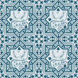 Arabic Blue Seamless Pattern with bird Phoenix Stock Image