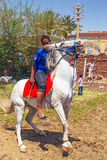 Arabic boy on the white horse Stock Photo