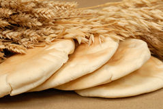 Arabic bread. And corn on the table Stock Photo