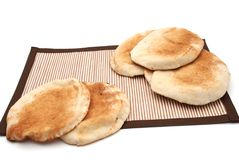 Arabic Bread. On brown table cover Stock Images